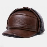 Men Genuine Leather Ear Protection Plus Thicken Keep Warm Outdoor Winter Military Hat Flat Hat Peaked Hat Baseball Hat
