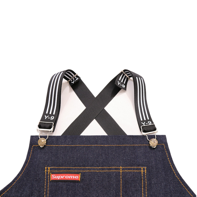 Denim Kitchen Cooking Apron Adjustable Cotton Strap Large Pockets Blue Barista Men and Women Homewear