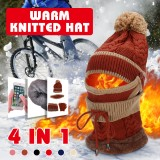 4PCS / Set Winter Thicken Warm Windproof Women Touch Screen Gloves + Neckerchief Scarf + Knitted Pompom Beanie Hat Cap with Fluff + Face Mask