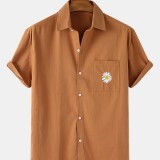 Mens Cotton Daisy Embroidery Chest Pocket Short Sleeve Casual Shirts