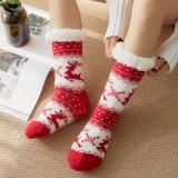 Women Warm Winter Outdoor Christmas Style Elk Snowflake Pattern Plus Velvet Thicken Home Sleep Socks Tube Socks