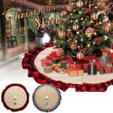 2020 Christmas Linen Lattice Tree Skirt Round Carpet Christmas Decorations for Home Floor Mat New Year Xmas Tree Skirts