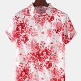 Tropical Plant Print Mens Hawaii Casual Pocket Lapel Collar Short Sleeve Shirts