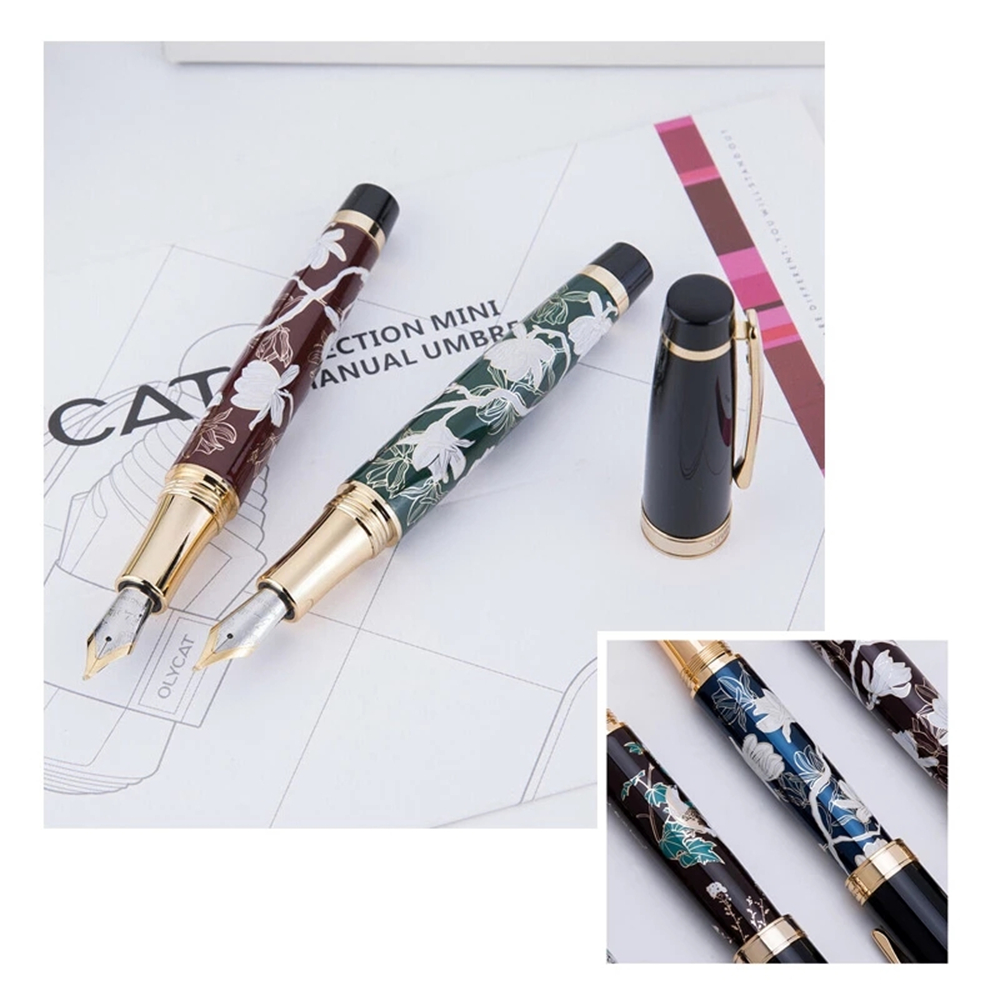 HongDian HD1837 Fountain Pen Flower Magpie Pattern 0.5MM Nib Fountain-Pens Gift Office Business Writing Set Stationery Supply