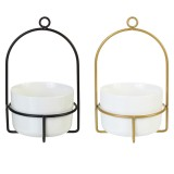 Creative Simple Dome Hanging Basin Ceramic Wrought Iron Flower Stand Flower Pot