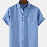 Mens 100% Cotton Breathable Solid Color Casual Short Sleeve Shirts With Pocket