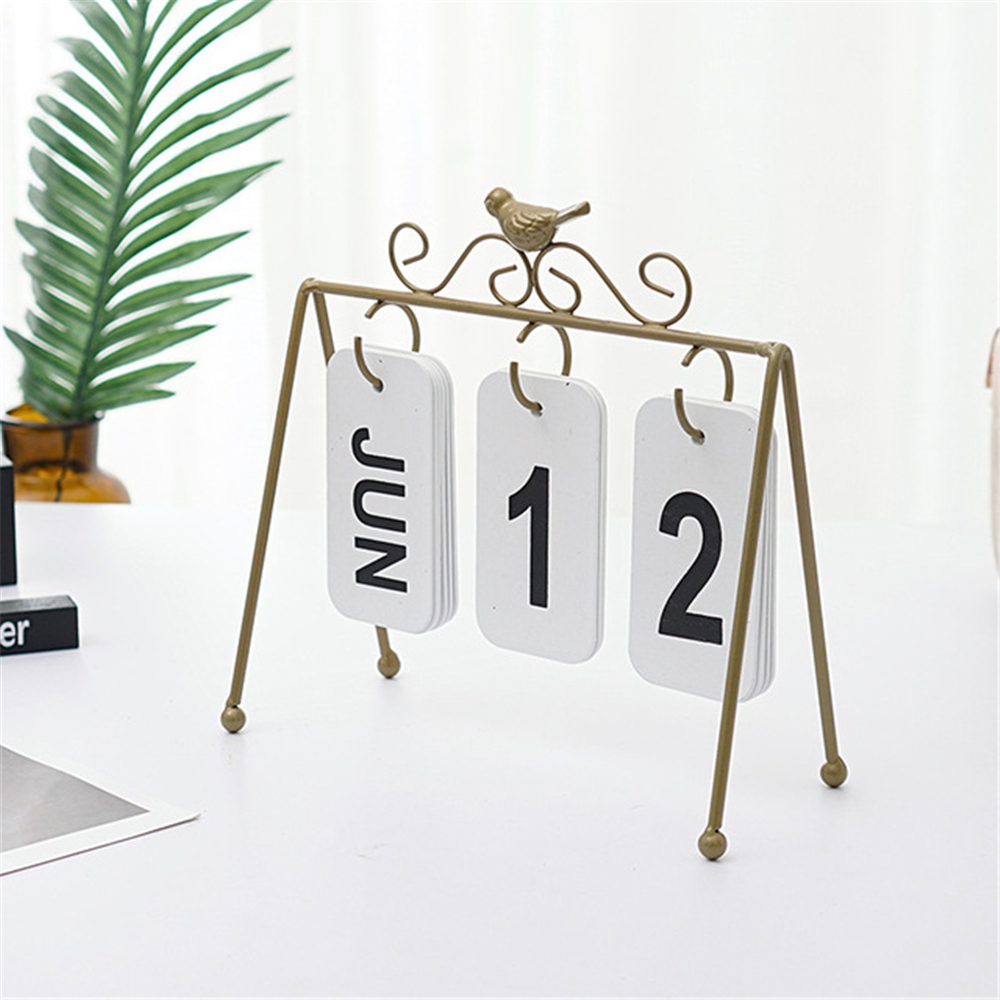 Iron Bird Flip Page Calendar Creative DIY Crafts Desktop Calendar Home Decoration Office Tabletop Ornaments