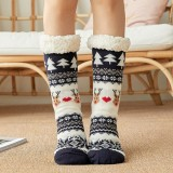 Women Cotton Warm Winter Outdoor Christmas Style Pattern Plus Velvet Thicken Home Sleep Socks Tube Socks