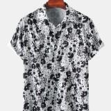 Mens Funny Cartoon Print Short Sleeve Casual Lapel Collar Shirts