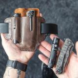 Men Genuine Leather Retro Mini Easy Carry Multitool Organizer Gear Bag Belt Bag Waist Bag With Belt Loop
