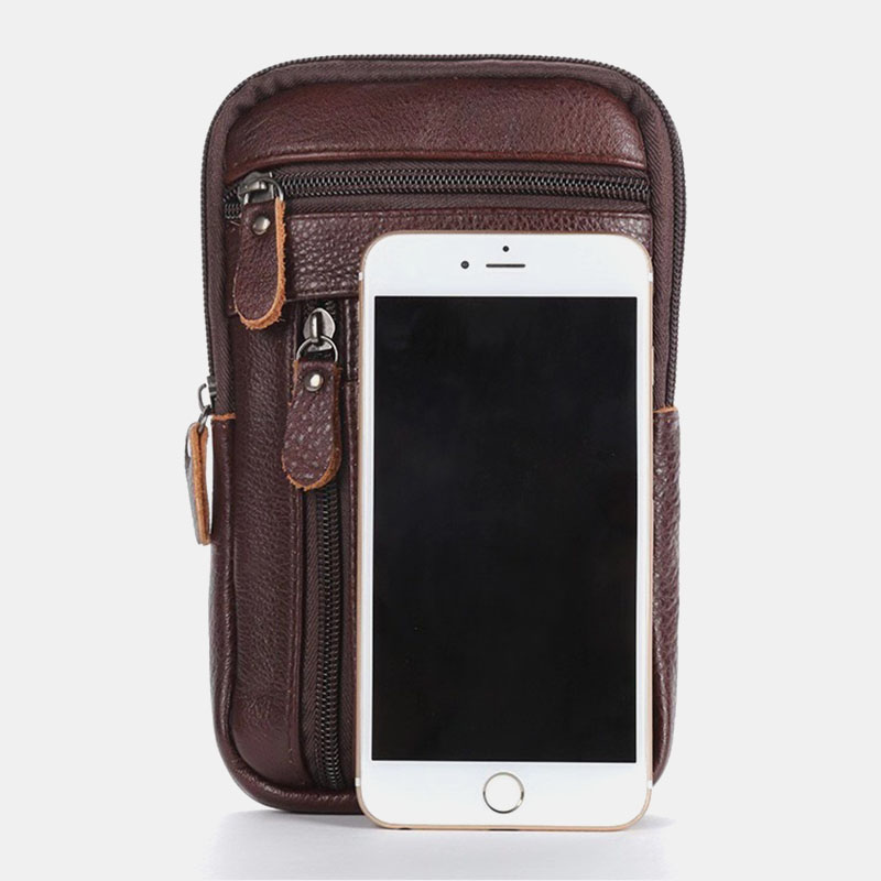 Men Genuine Leather Multi-carry Anti-theft 6.5 Inch Phone Bag Crossbody Bag Waist Bag Sling Bag