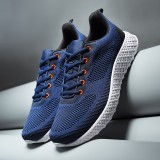 Men Sport Breathable Knitted Fabric Lace Up Casual Running Athletic Shoes
