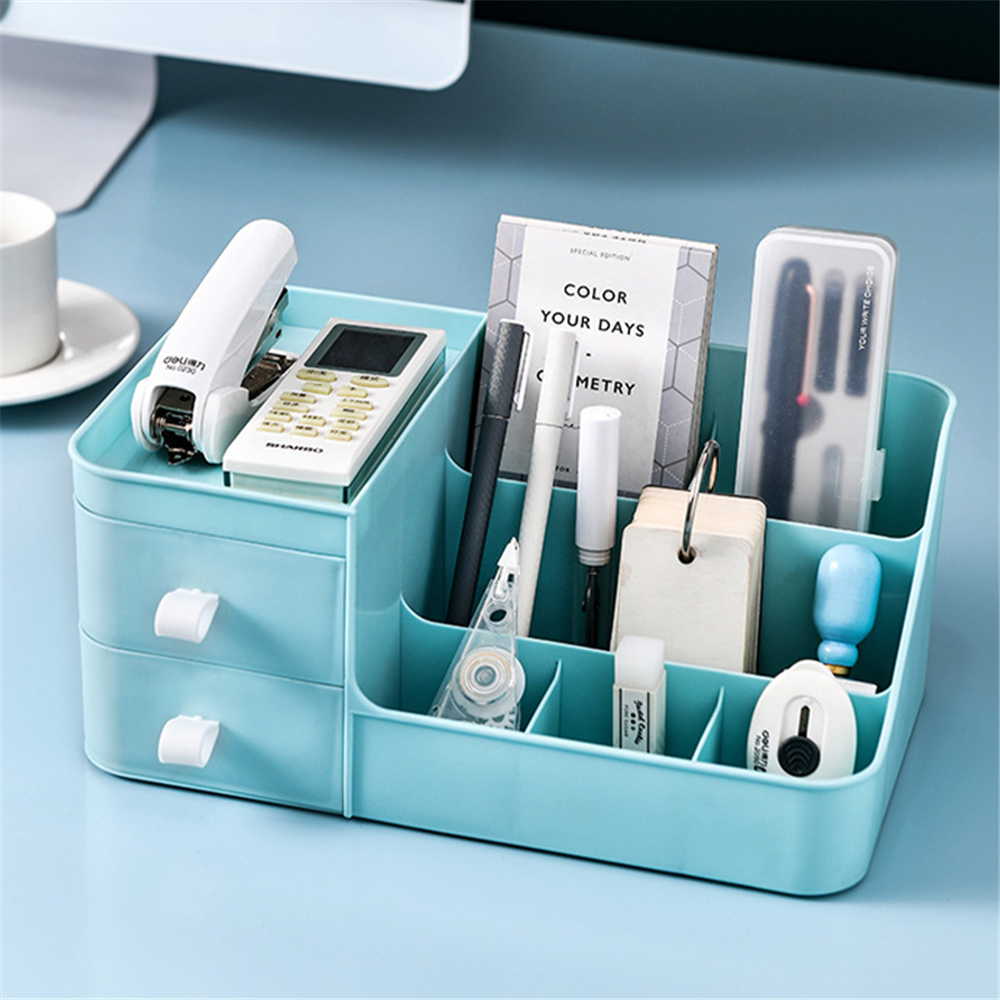 Makeup Organizer Plastic Cosmetic Lipstick Storage Box Container Large Capacity Desktop with Makeup Drawer