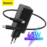 [GaN Tech] Baseus 45W USB-C Wall Charger 2-Port PD3.0 QC3.0 AFC SCP Quick Charge Adapter With EU Plug + 60W USB-C to USB-C Fast Charging Cable