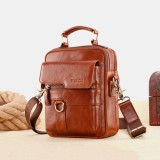 Men Genuine Leather Large Capacity Messenger Bag Crossbody Bag Shoulder Bag Handbag