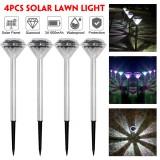 4PCS Solar Powered Diamond LED Lawn Light Waterproof Garden Outdoor Patio Landscape Path Lamp