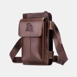 Men Genuine Leather Multifunction Business 5 Card Slots Multi-carry Crossbody Bag Waist Sling Bag