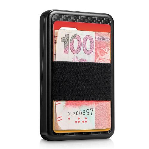 NewBring RFID Blocking Card Holder Blocking Sliding Wallet Aluminum Plastic Card Money Purse Carbon Fiber Storage