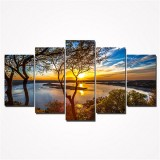 5Pcs Canvas Print Paintings Landscape Wall Decorative Print Art Pictures Frameless Wall Hanging Decorations for Home Office