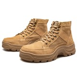 AtreGo Mens Motorcycle Ankle Boots Steel Toe Safety Work Hiking Shoes Athletic