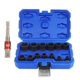 14pcs Impact Damaged Bolt Nut Remover Extractor Socket Tool Set with Socket Nut Adapter Bolt Nut Screw Removal Socket Wrench