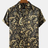 Mens Ethnic Style Paisley Print Casual Loose Thin Short Sleeve Shirts