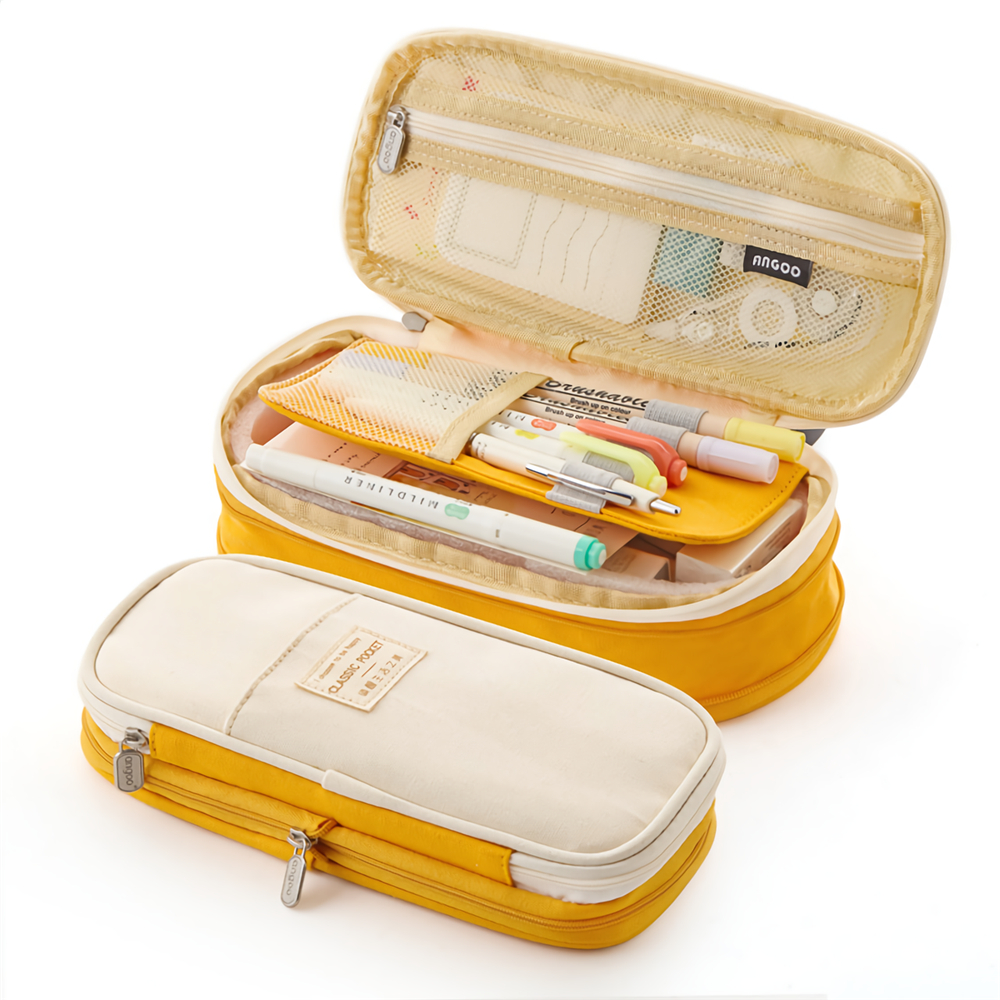 Angoo Pencil Case Large Capacity Zipper Pencil Case Canvas Pencil Bag For Cute Students School Stationery Supplies