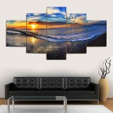 5Pcs Sunset Beach Canvas Paintings Wall Decorative Print Art Pictures Unframed Wall Hanging Home Office Decorations