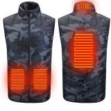 TENGOO 4-Area Heating Camouflage Vest Men's Warm Vest USB Charging Thermal Heated Vest Outdoor Winter Sport Coat