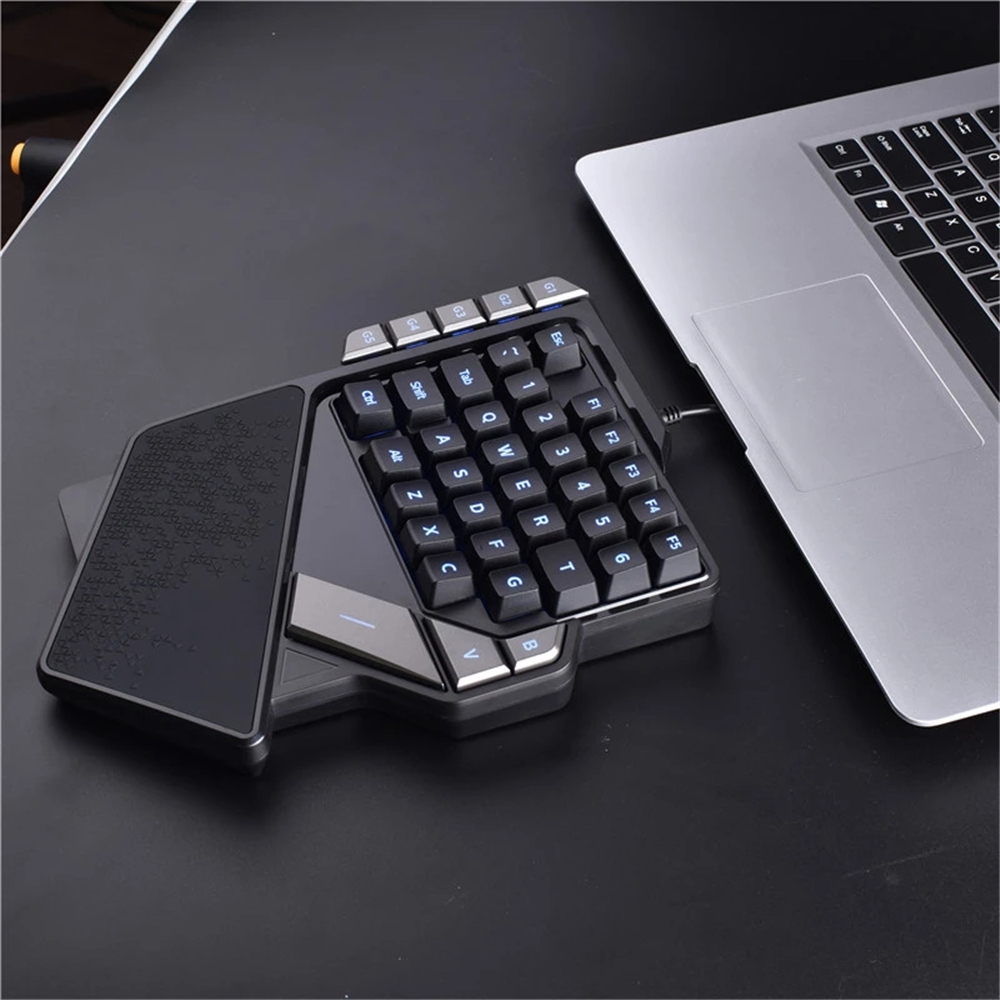 AULA K2 Wired One-Handed Gaming Keyboard Mechanial Feel 38 keys Portable Mini Gaming Keypad With Media Controller for Laptop Computer Smartphone