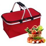 30L Waterproof Folding Picnic Lunch Bag Camping Insulated Bag Cooler Hamper Storage Basket Bag Box With Handle For Outdoor Picnic