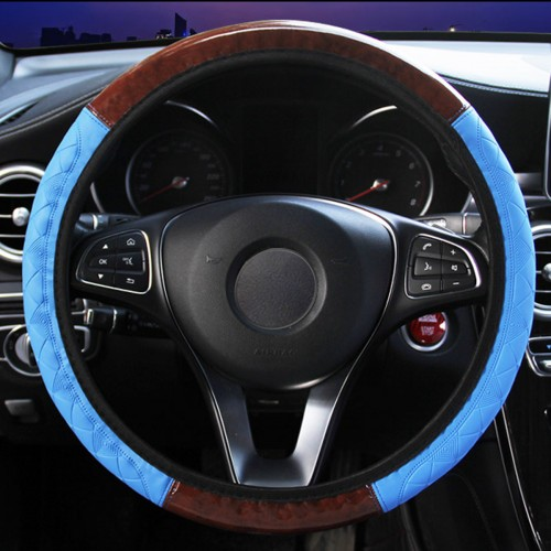 Wood Grain Leather Car Steering Wheel Cover Protective Cover Universal Non-slip