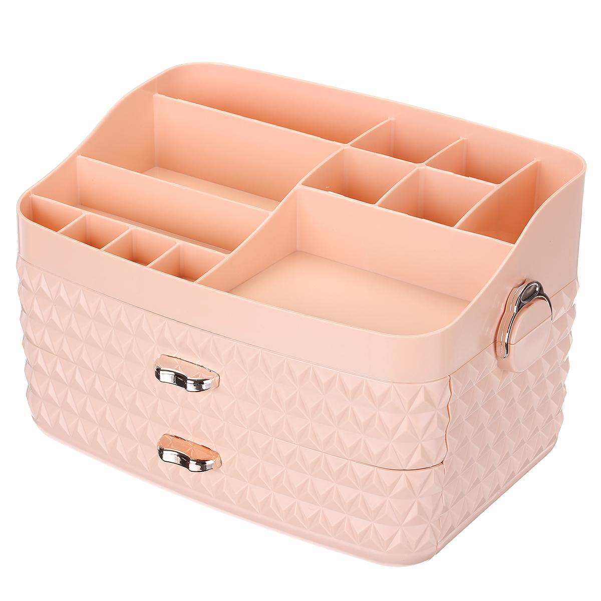 Dustproof Cosmetic Storage Box with Drawer Large Capacity Desktop Furnishings Organizer Home Desk Sundries Storage