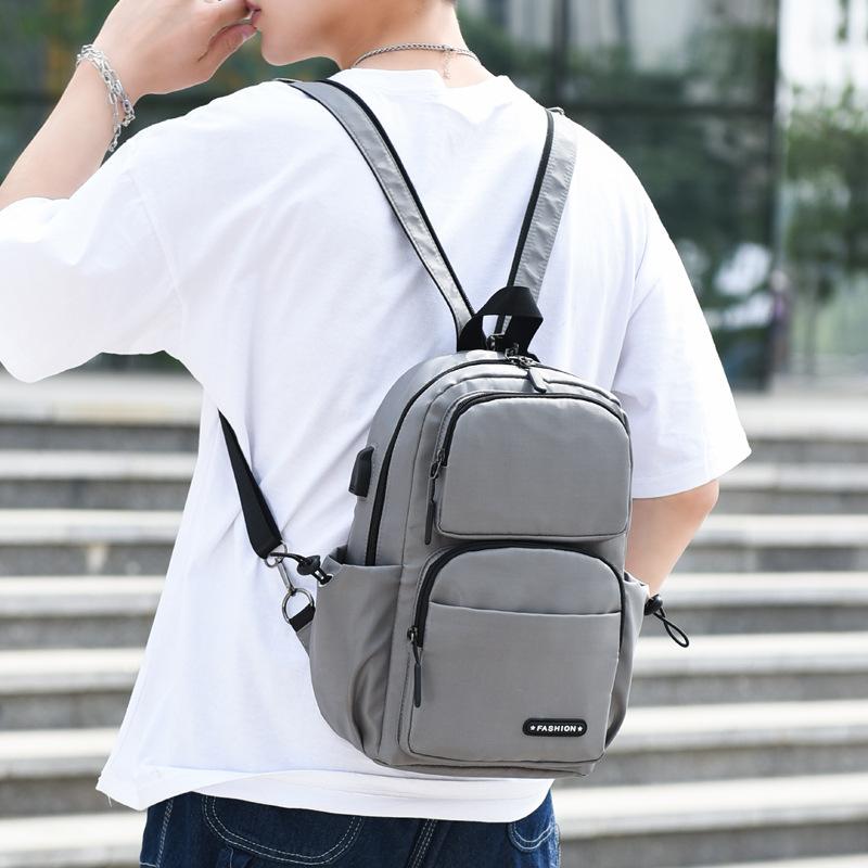 Men USB Charging Multi-carry Multi-Layers Waterproof Crossbody Bag Chest Bag Sling Bag Backpack