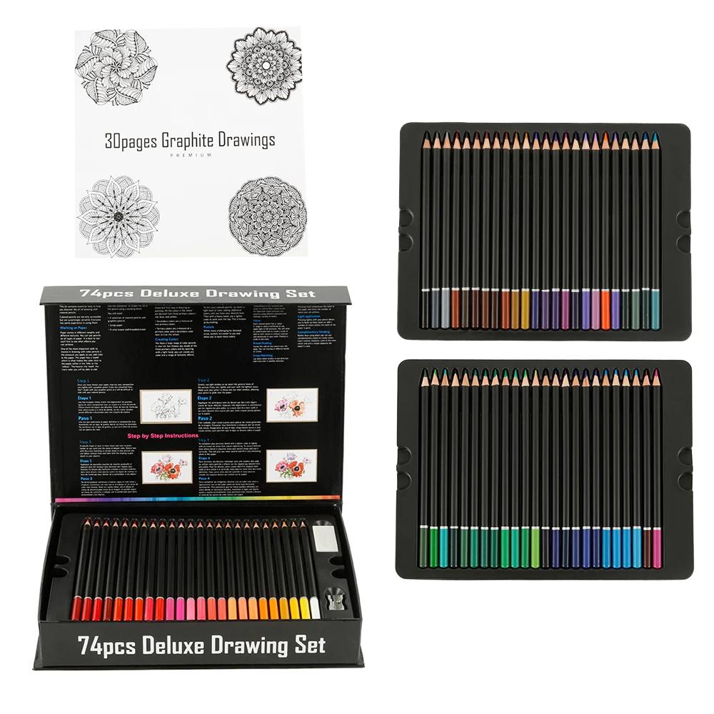 75pcs Color Pencil Drawing Set Artist Painting Sketching Color Pencil Art Students Book Drawing Stationery Painting Supplies