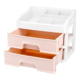 Plastic 2 Layers Cosmetic Storage Box Multifunction Desktop Storage Boxes Drawer Makeup Organiser Stationery Storage
