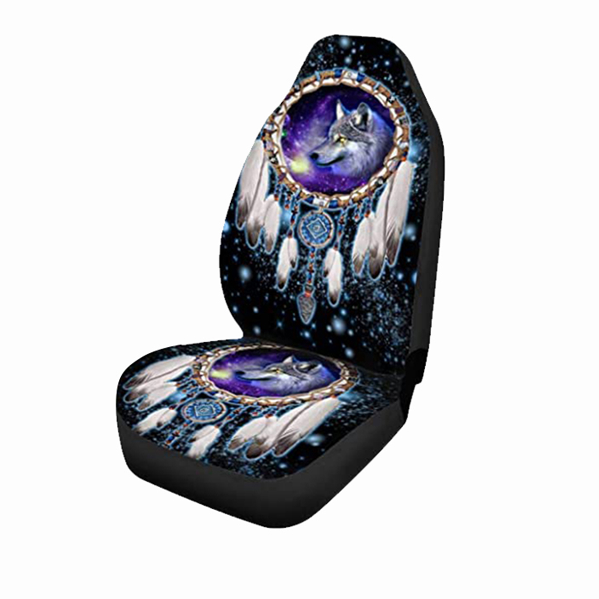 Universal Car Seat Covers Wolf Sky Feather Design Front & Rear Seat Full Cover