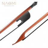 NAOMI Classical Baroque Style Brazilwood Bow 4/4 Violin Bow Round Stick Black Horsehair Ebony Frog Light Bow