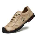 Men Outdoor Hand Stitching Cowhide Leather Slip Resistant Soft Hiking Casual Shoes