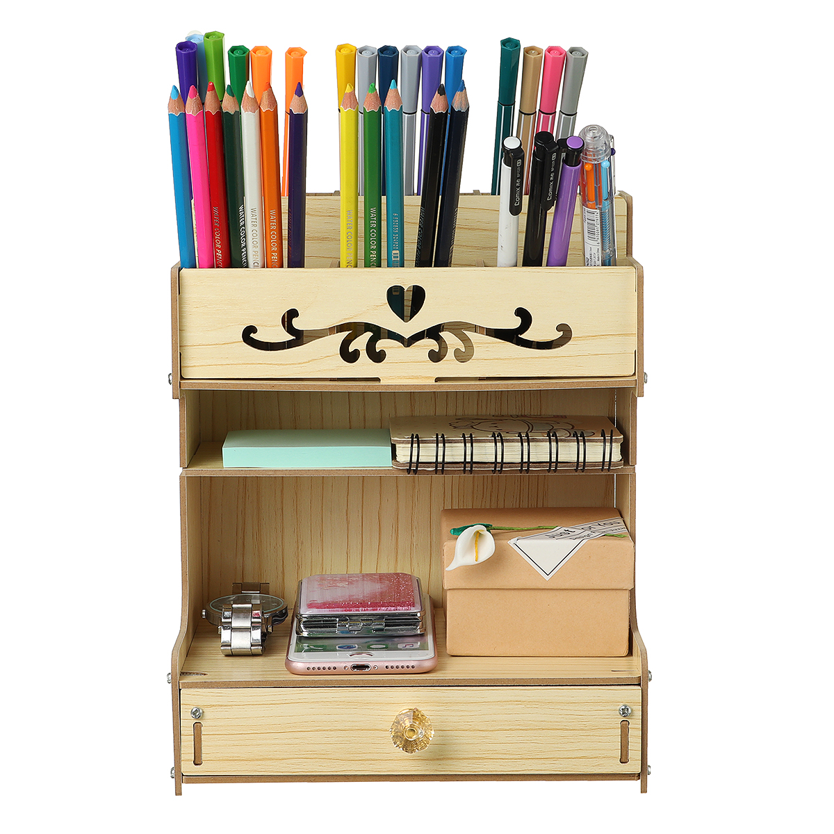 Wooden Office Desk Organizer Multi-Functional DIY Creative Pencil Holder Home Office Supply Brush Storage Rack