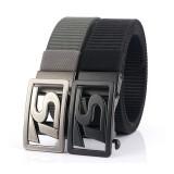 125CM 4CM Width Metal Press Buckle Canvas Belt Men's Tactical Belt,Leisure Breathable Nylon Waist Belt