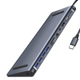 Bakeey 12 In 1 USB-C Type-C Hub Docking Station Adapter With 4 * USB 3.0 / 60W USB-C PD3.0 Power Delivery / 4K HD HDMI Video Output / 4K Mini DP Display Port / 1080P VGA / RJ45 Gigabit Network Port / 3.5mm Audio Jack / Memory Card Readers