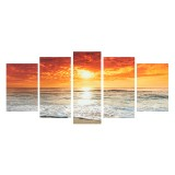 5Pcs Sea Landscape Canvas Print Paintings Wall Decorative Print Art Pictures Frameless Wall Hanging Decorations for Home Office