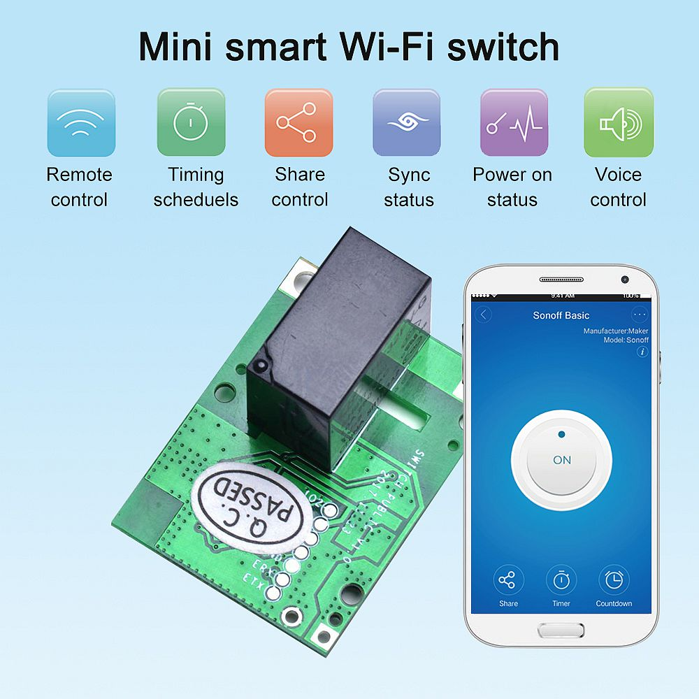SONOFF RE5V1C Relay Module 5V WiFi DIY Switch Dry Contact Output Inching/Selflock Working Modes APP/Voice/LAN Control for Smart Home