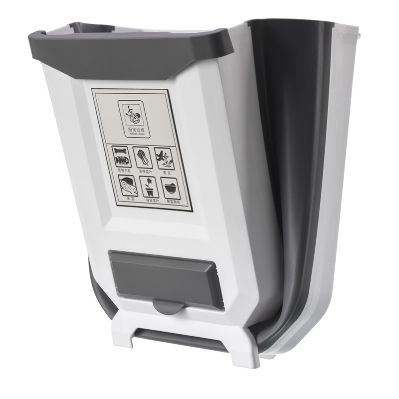 6L Waste Bin Folding Garbage Bin Car Trash Can Kitchen Bathroom Wall Mounted Garbage Trash Bin Bags Holder