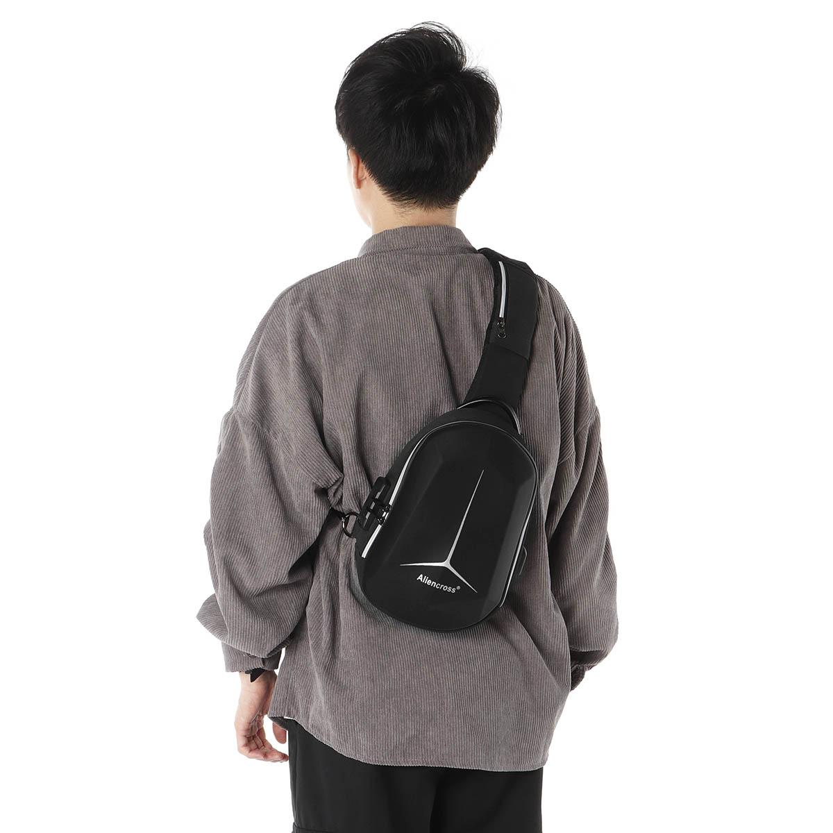 Anti-Theft Men Crossbody Bag Hard Shell Waterproof Chest Sling With Lock USB Port