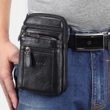 Men Genuine Leather Retro Multi-function Belt Bag Cross Body Bag Casual Large Capacity Easy Carry Waist Bag