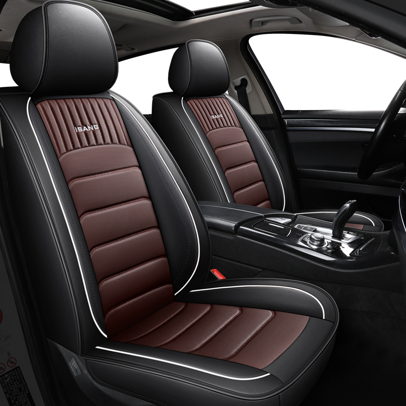 Waterproof Car Front Seat Cover Mats Protector Organizer PU Leather Breathable