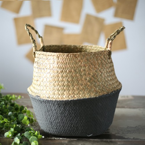 Woven Willow Storage Basket Garden Flower Vase Foldable Hanging Basket Storage Pot Home Office Decor