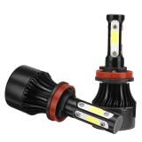 4-Side COB LED Car Headlights 9005/9006/H11 Hi-Low Beam Fog Light Bulb 6000K 120W 2Pcs